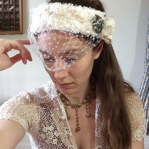 Vintage Lace Wedding Mesh Headband Caplet evil